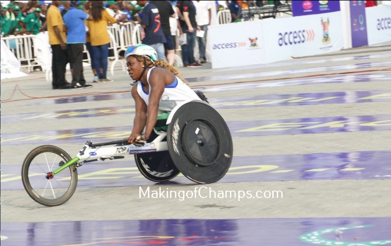 Hannah Babalola wins the women's 10km Wheelchair Race at the Access Bank Marathon.