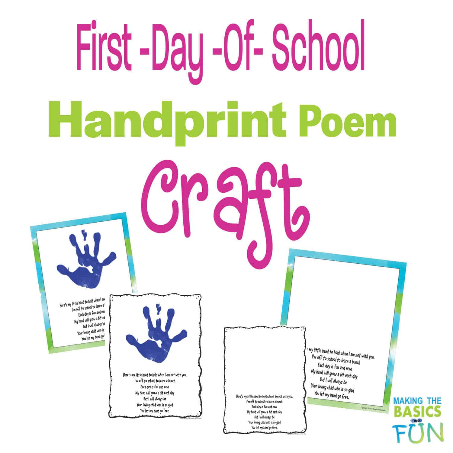 Hand Poem Activity For Back To School Making The Basics Fun
