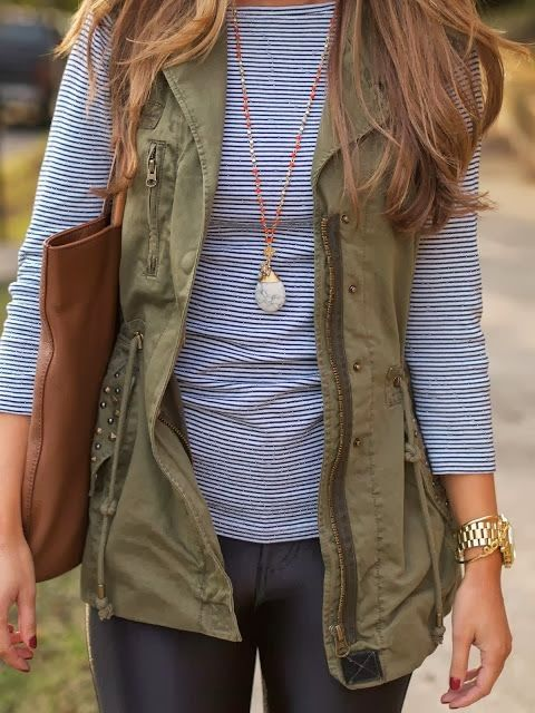 striped shirt and vest