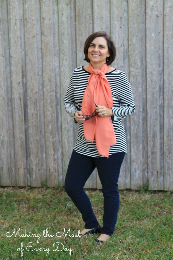 stripes and scarf marked