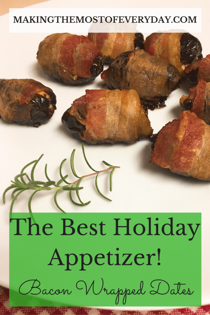 Bacon wrapped dates are the easiest and tastiest appetizer for your holiday parties! Making the Most of Every Day {dot} com has more inspiration for you!