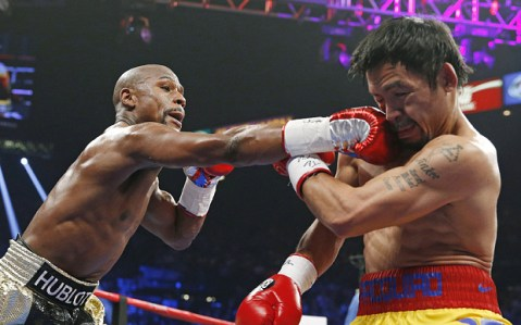Mayweather vs Pacquiao big fight in action