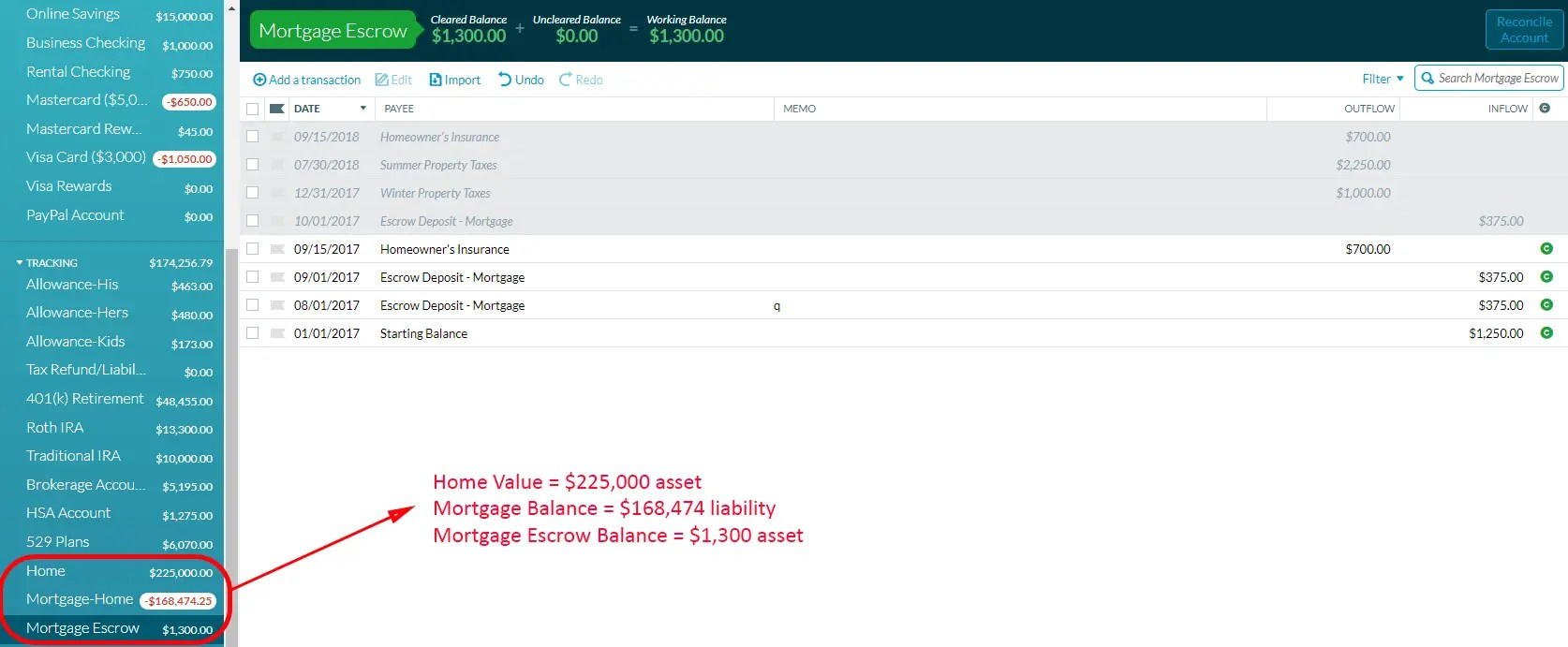 Using YNAB to track mortgage escrow accounts (along with home value and mortgage balance)