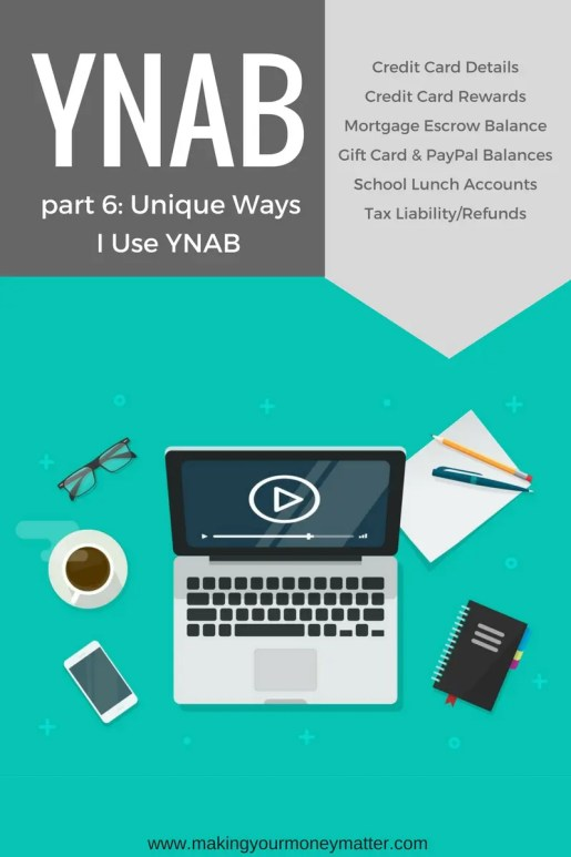 This makes me love YNAB even more-THIS IS GENIUS! Unique Ways to Use YNAB: Including tracking credit card details & rewards, mortgage escrow balances, gift cards, PayPal, taxes due or refunds and even school lunch accounts.
