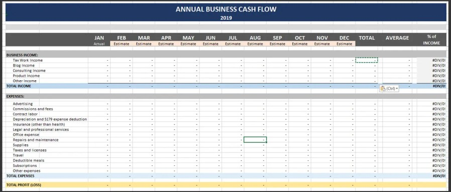 My spreadsheet for tracking and projecting my business cash flow.