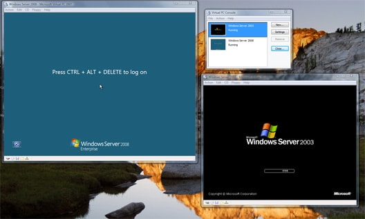 Evaluation verstions of Windows Server 2008 and Windows Server 2003 running alongside Windows Vista