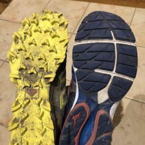 rail Shoe (Solomon SpeedTrax) vs Road Running Shoe (Mizuno WaveRider)