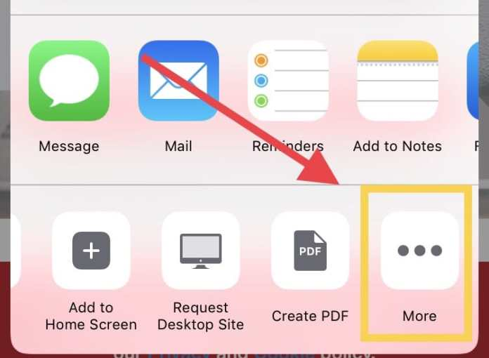 Step 3: 3. Choose MORE to add new features to your Share Button