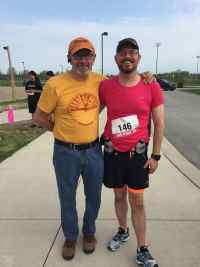 Image: My First Road Race: Pink 5K (2015) - Sorry, no boa. With my Dad who surprised me and came to cheer me on.