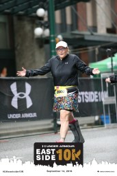 IMG:: My sister, Gillian Hanlon, running 10K in a walking cast.