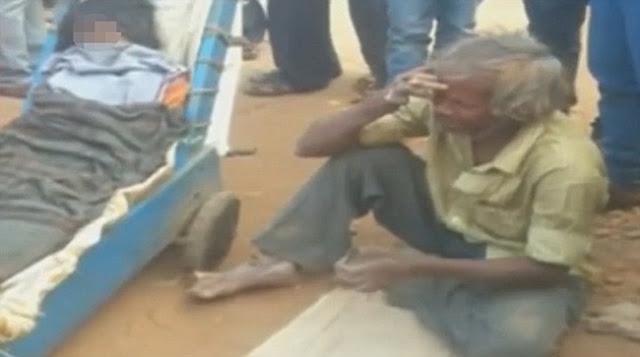 Sedih, Kakek Ini Bawa Mayat Istri Pakai Gerobak Hingga Kelelahan