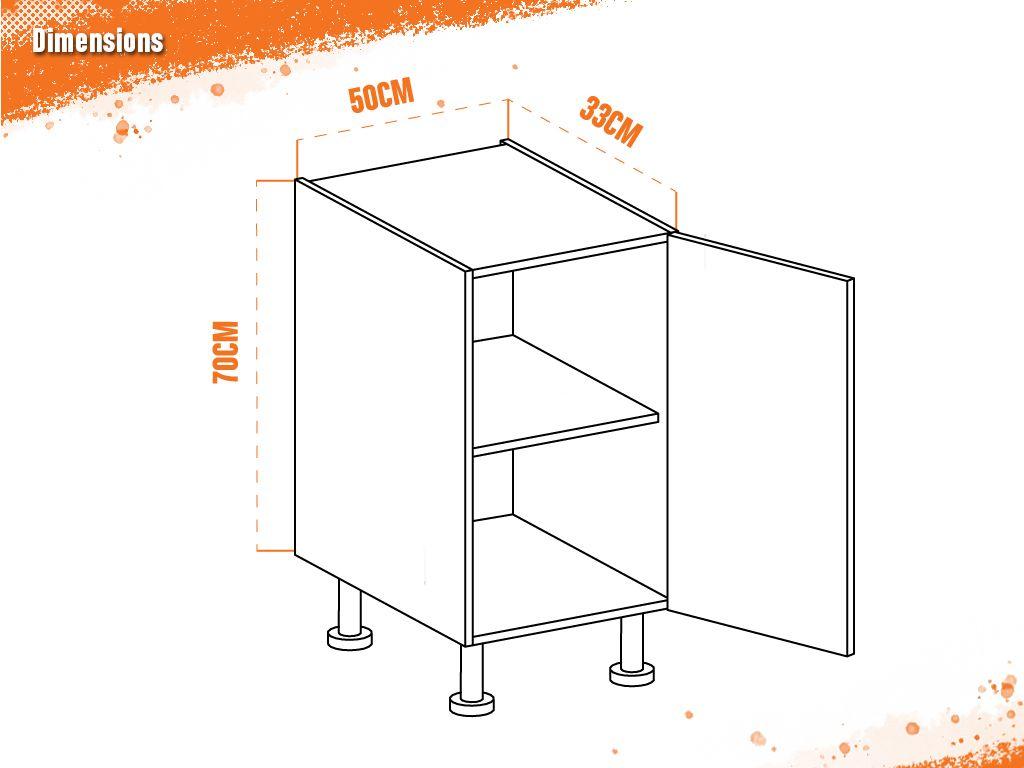 meuble bas chene golden 50 cm faible profondeur facade 1 porte