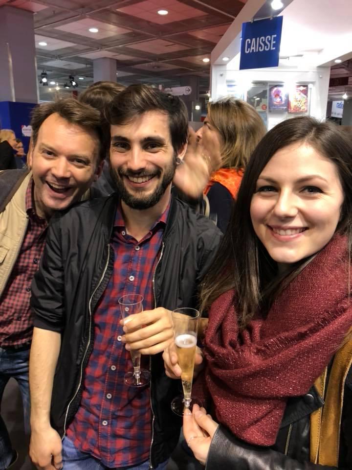 Stephan Boschat, Benjamin Viette et Sarah Grassart au salon du livre de Paris 2018.