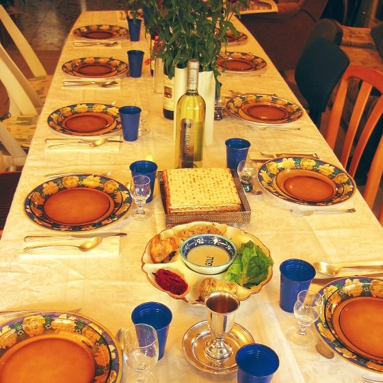 Picture of a table set for dinner
