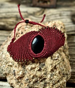 Pulsera de macrame con piedra Onix Negro estilo boho