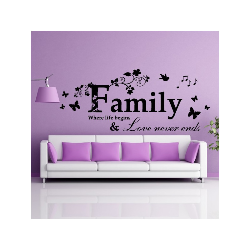 Download Sticker Texte : Family Where life begins & Love never ends