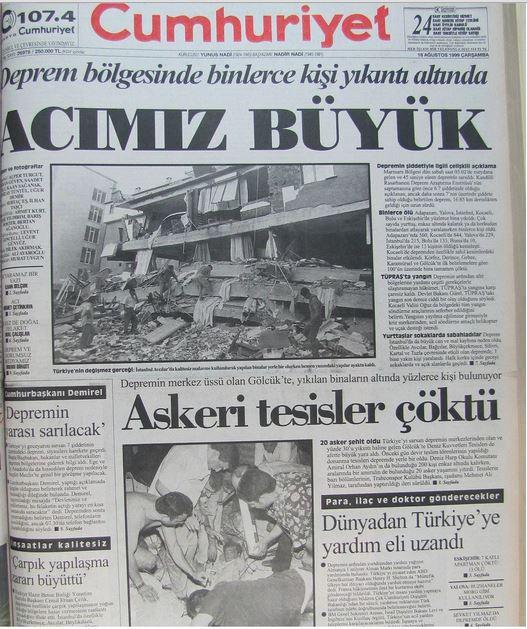 Cumhuriyet-gazetesi-18-agustos-1999 17 Ağustos 1999 Depreminin ertesi günü atılan manşetler