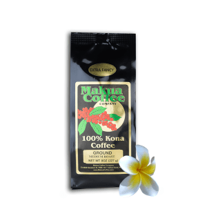 Makua Coffee Company 100% Kona Coffee Extra Fancy Medium Roast Coffee Ground 8oz Bag