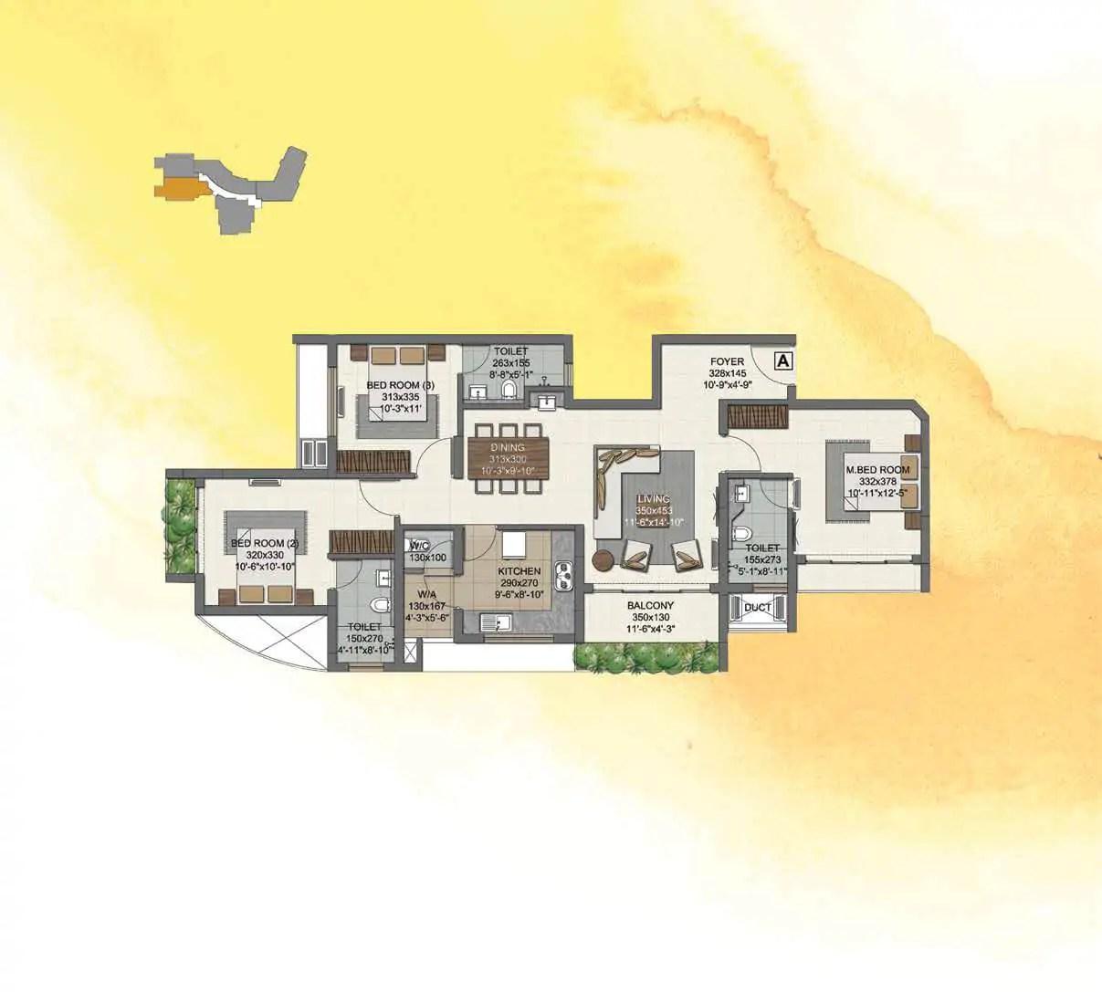 UNIT A (3 BHK) 1ST-12TH FLOORS