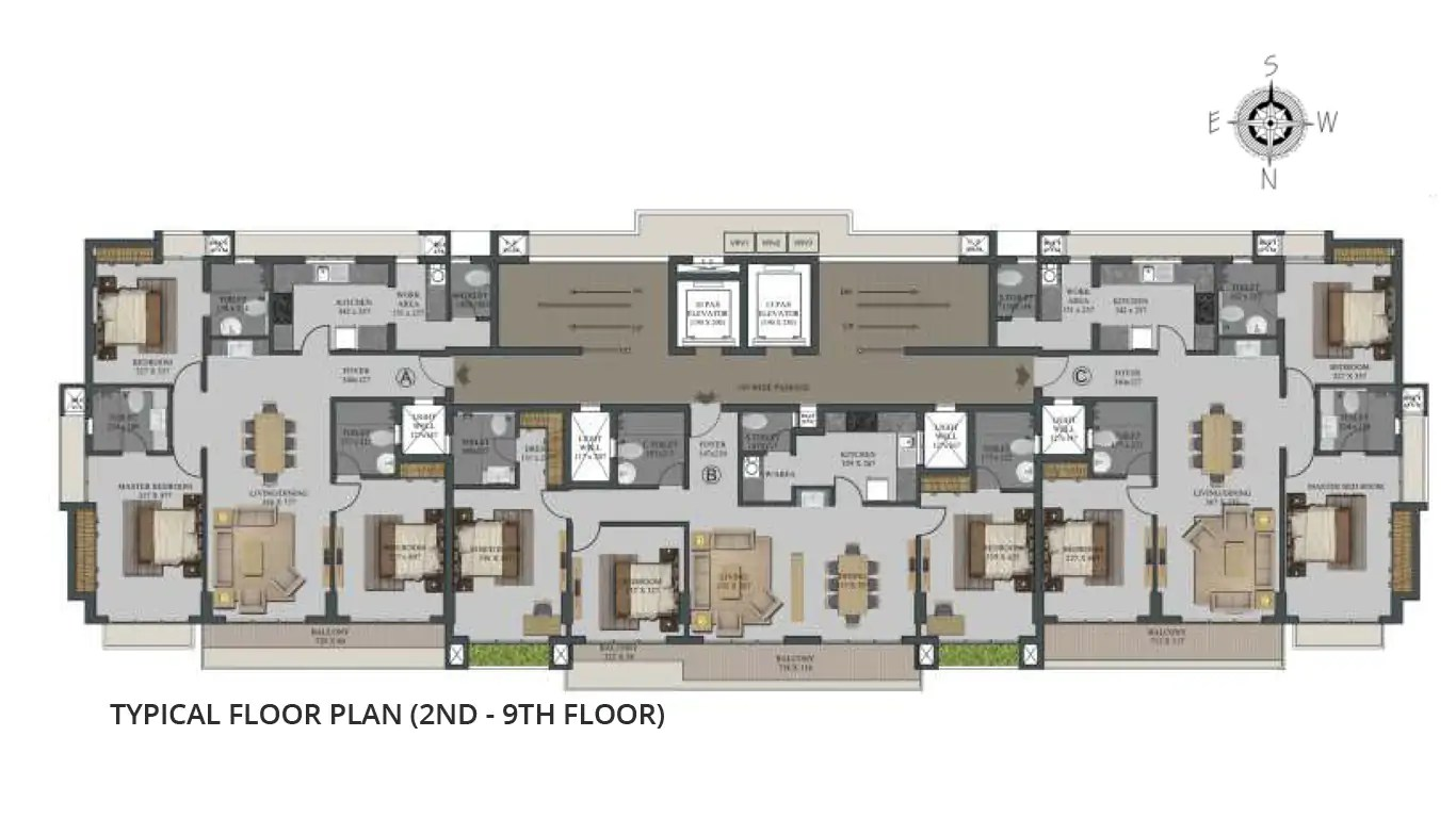 Typical Floor Plan (2nd - 9th Floor)