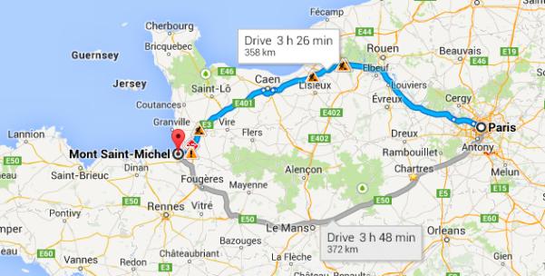 monte saint michel mapa de paris