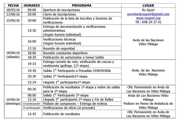 Rally de Vélez Málaga 2016 Programa Horario