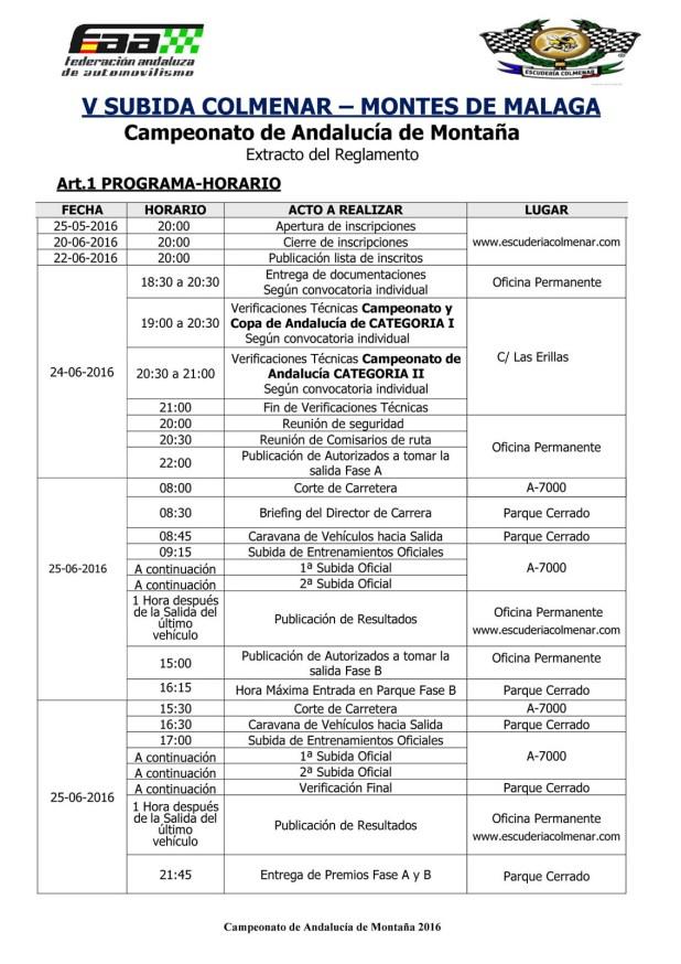 Horario V Rally Subida Colmenar