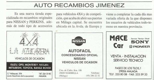 En 1994 se publicaba en Revista Local 4x4 Andalucía la noticia de la apertura de Auto Recambios Jiménez.