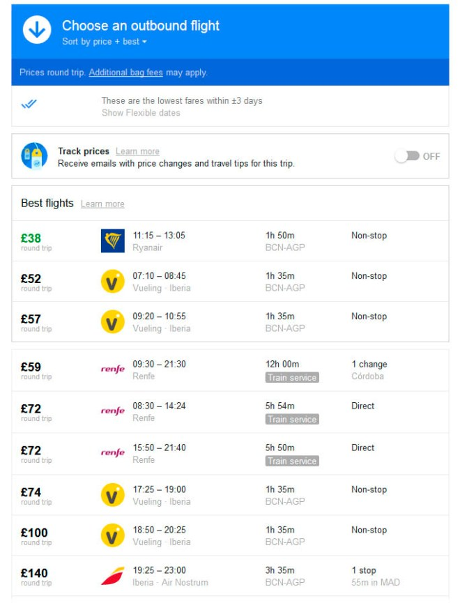 Flight vs train prices to Malaga