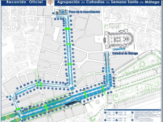 Map with itinerary of processions during the Holy Week in Malaga.
