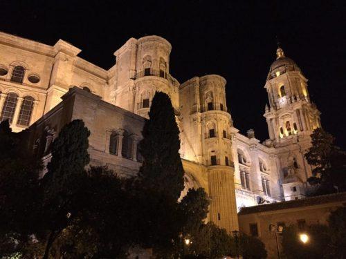 Catedral de Málaga de noche