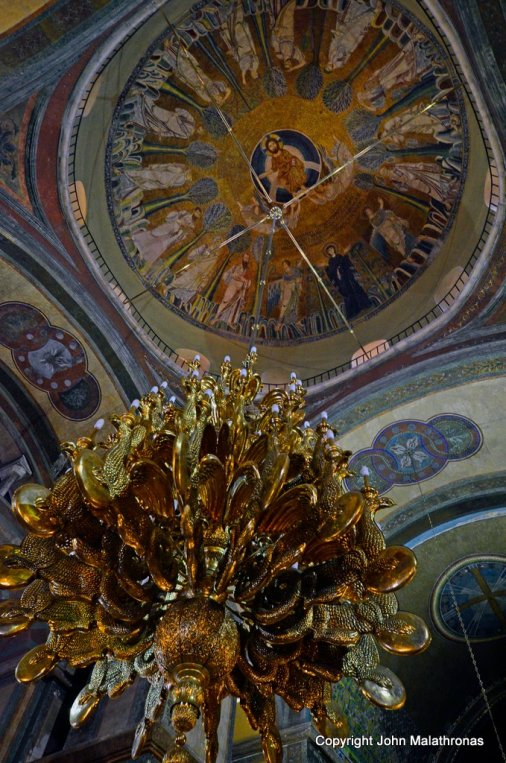 Chandelier and the Dome Mosaic of the Transfiguration of Christ Salonika