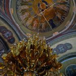 Chandelier and the Dome Mosaic of the Transfiguration of Christ