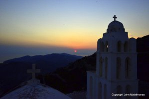 Sunset on Folegandros from the church of Dormition of the Virgin