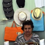 Mrs Aphroditi in her hat shop, Ioulida