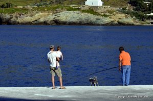 Fisherman with dog at Kea Port