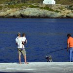 Fisherman with dog at Kea Port