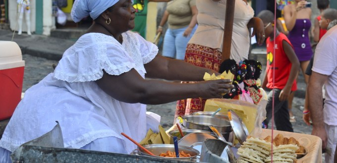 A Baiana with her food stall in Salvador