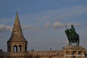 St. Stephen, the first king of Hungary, and the Fishermen's Bastion, Buda castle