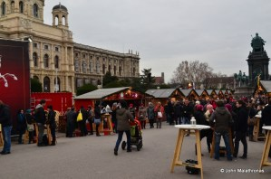 Family shopping in the Hofburg Christmas market, Vienna