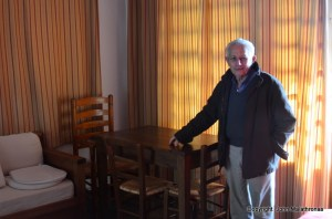 """Nikos shows me the table where Chatwin finished """"Songlines"""""""