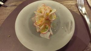 Glace gazpacho, radis, fleur de Tagète