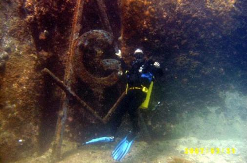 Diver with Masonic symbol in Paraty Brazil