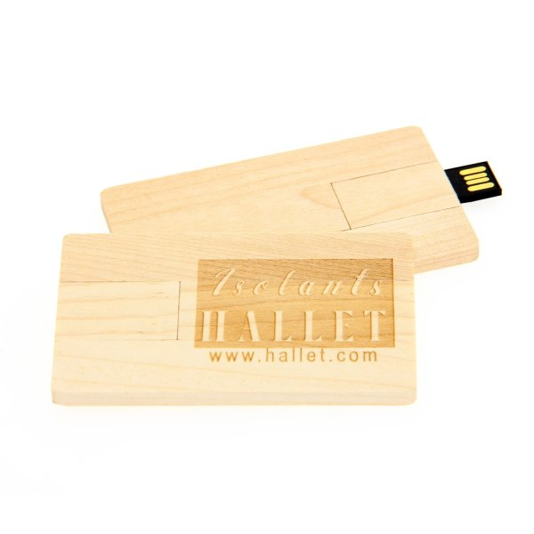 W008 Wooden Credit Card USB Flash Drive