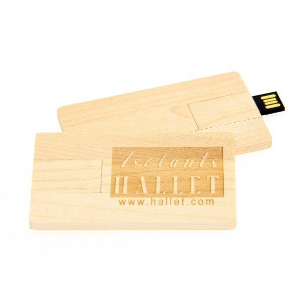 W008 Wooden Credit Card USB Flash Drive