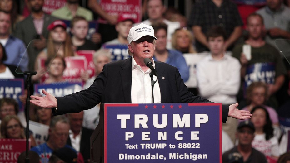donald trump During a wide-ranging, 45-minute speech at a rally in Dimondale, Mich