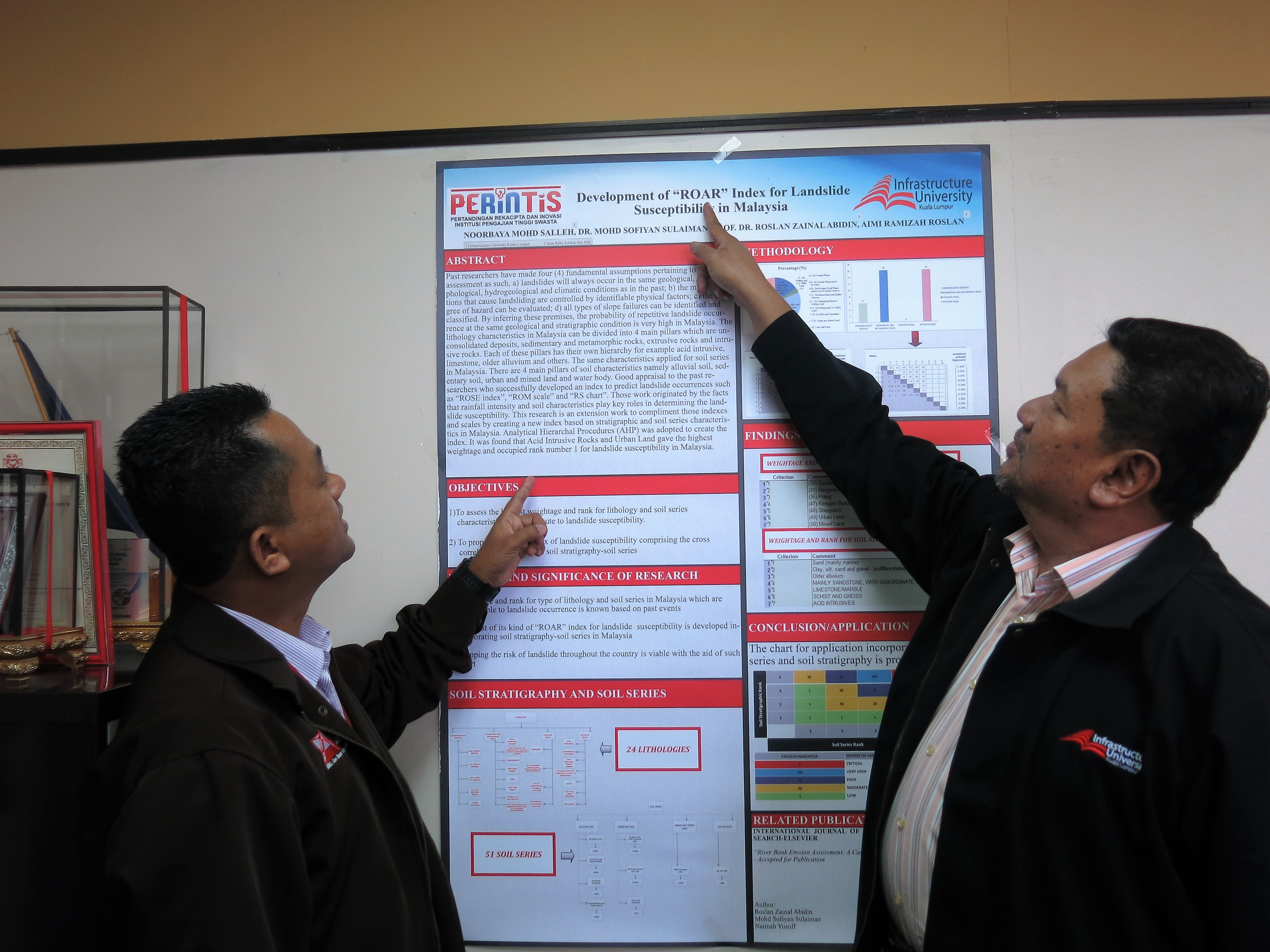 "Prof. Dr. Roslan Zainal Abidin pointing at the ""ROAR"" chart which was developed by IUKL early this year."