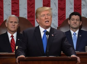 Trump speaking at the State of the Union address 2018 on Tuesday2a