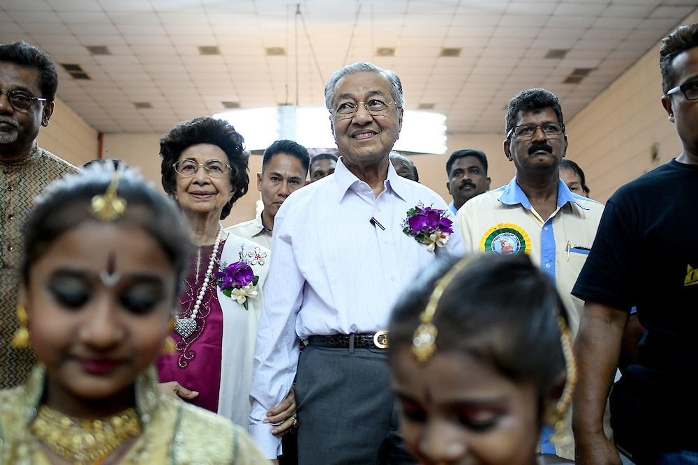Dr Mahathir and his wife Dr Siti Hasmah at the Pesta Ponggal Vanniar event yesterday