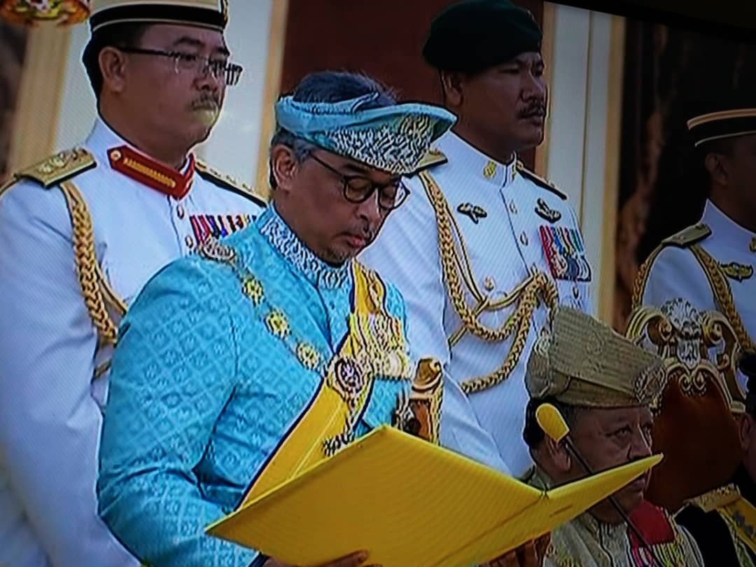 Sultan Abdullah Riayatuddin Al Mustafa Billah sworn in as the 16th Yang di Pertuan Agong at Istana Negara today Jan.31.